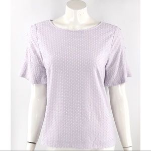 Rose Olive Top Size Medium Lilac Purple Swiss Dot